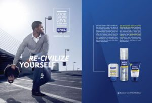 "An image of one of the Nivea ""Re-Civilize Yourself"" ad spots."